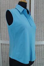 """LYLE & SCOTT Sky Blue Sleeveless Top L 39"""" Bust Women's Cotton Summer Shirt Logo"""