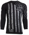 Archaic AFFLICTION Men THERMAL Shirt NATION American Custom USA FLAG Biker $58 a