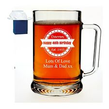 More details for personalised engraved beer pint glass tankard 18th 21st 30th birthday gift boxed
