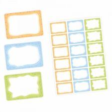 72 Blanko Etiketten bunt orange blau grün - 64 x 45 mm - Namensetiketten