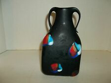 Russian Azerbaijan Vase Flat Black Cased Blue With Red White Blue Patches T56