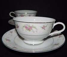 2 Royal Crown China Japan Cups & Saucers Pink Floral Flower Silver Trim 4 Piece