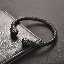 Bracelet homme Tête de mort en cuir noir