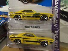 Hot Wheels Lot of (2) '71 Dodge Challenger HW Showroom Yellow one w/paint error