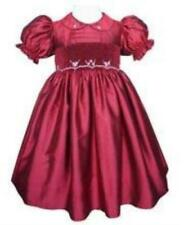 Cherry Red Silk Hand Smocked Flower Girls Dress Gown Special Occasion 17210