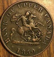 1850 BANK OF UPPER CANADA DRAGONSLAYER HALF PENNY TOKEN COIN