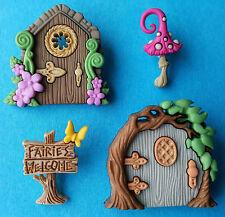 BELIEVE IN FAIRIES - Fairy Door Toadstool House Magic Dress It Up Craft Buttons