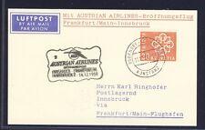 43465b) AUA FF Frankfurt - Innsbruck 15.12.59, Karte ab Schweiz Schiffspost R!