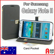 Pu Leather Flip Stand Case with Card Pockets for Samsung Galaxy Note II 2, Black