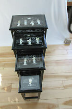 VINTAGE CHINESE NESTING/STACKING TABLES set of 4  JADE STONE  MOTHER OF PEARL(1)