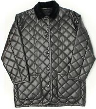 Luciano Barbera Womens Quilted Leather Jacket XL Dark Brown Velvet Collar 46 EU