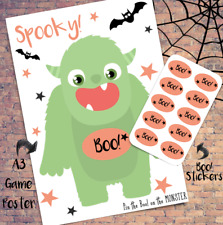 Halloween Pin the Monster - NEW - Kids Game Activity - 10-50X - Witch Vampire