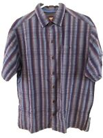 Tommy Bahamas Blue  and Purple Striped Short Sleeve Button Shirt Size Medium