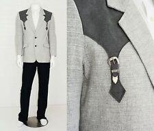 Men's 40 Pioneer Wear Linen Silver Western Sport Coat 2 Button Blazer USA made