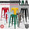 """Set of 4 30"""" Metal Steel Bar Stools Antique Style BarStool Backless Stackable"""