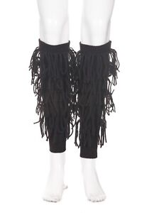 NWT MINNIE ROSE Brown Knit 100% Cashmere Leg Warmers Fringe Warm Boho Dance