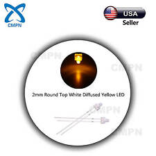 100Pcs 2mm Diffused Round Top White/Yellow LED Diodes Super Bright Light Lamp