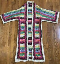 Ashro Long Kimono Duster Sweater Coat Jacket Open Front Colorful Size S