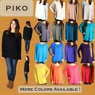 PIKO T1851 Authentic Bamboo Long Sleeve Boat Neck Oversized Top - S M L