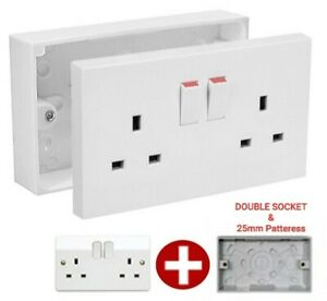 🔥 Double Wall Socket & Back Box Pattress Twin 2 Gang Switched Plug Electrical