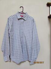 Men size 17 1/2 35/36 CHAPS Slim Fit Gray Plaid Dress Shirt Black White Check