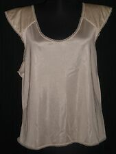 Women's Pollinaise Intimate Apparel Beige Camisole Cap Sleeve/Padded Shoulders L