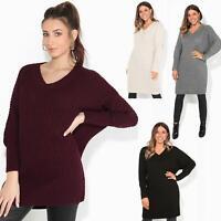 Womens Ladies Oversized V Neck Jumper Chunky Knit Cardigan Winter Sweater Dress