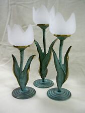 Partylite Tulip Frosted Glass and Brass Floral Tealight Candle Holders
