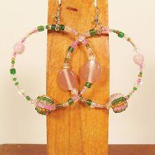 """2"""" Pink Multi Color Mixed Bead Handmade Bohemian Seed Bead Round Hoop Earrings"""