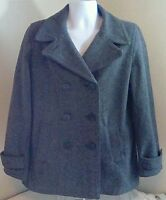 Gap Women's Gray Wool Blend Double Breasted Jacket Coat Size Large Free Ship