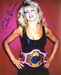 Candi Devine signed 8x10 color wrestling photo AWA Womens champ