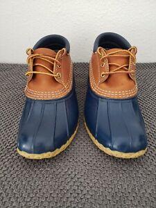 LL Bean Duck Hunting Low Shoe Boots unisex Sz 8m  Lace Up Waterproof Blue