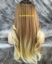 4x4 Monofilament Free Part Human Hair Blend Ombre Brown Blonde Lace Front Wig