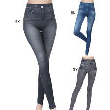 Mode Femme Jeans Délavé Pantalon Longue Legging Denim Slim Skinny Extensible NF
