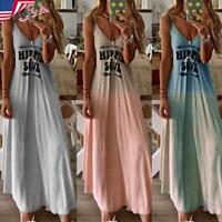 Women's HIPPIE SOUL Deep V Neck Dress Ladies Sleeveless Gradient Maxi Skirt USA
