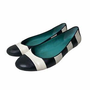 Kate Spade Womens Ballet Flats Black White Stripe Color Block Leather Size 6.5