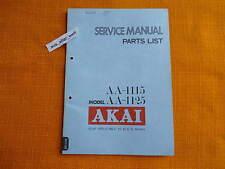 SERVICE MANUAL AKAI AA 1115 1125 Anleitung 1977 Schaltplan Receiver parts list