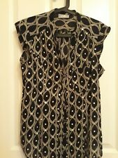 Wallis  black and white print blouse with sequins size 14