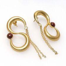 Gold Plated Earring E1421 Natural Sunstone Handmade 18k