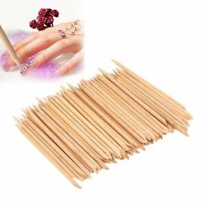 Nail Art Orange Wood Sticks Cuticle Pusher Remover Pedicure Manicure Tool UK