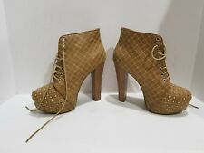 Charollette Russe Womens Tan Studded Ankle Boots Size 9 M