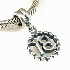 18-YEAR-OLD BIRTHDAY STERLING SILVER PENDANT CHARM BEAD FITS EUROPEAN BRACELET
