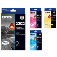 GENUINE Epson 220XL 4 Colours Value Pack Ink Cartridge WF-2630 WF-2650 WF-2660