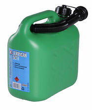 GREEN PLASTIC JERRY CAN FUEL PETROL DIESEL WATER CONTAINER WITH SPOUT 5 LITRE