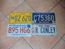 4 US Auto Kennzeichen Nummernschild ALASKA DELAWARE MASSACHUSETTS NEW YORK USA