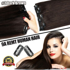 US Full Head Clip In Human Hair Extensions Double Weft 100% THICK Real Remy Hair