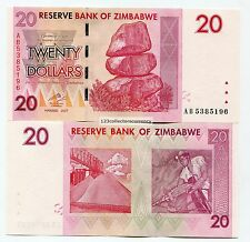 Zimbabwe 20 Dollar 2007 Reserve Bank Genuine Uncirculated Banknote P68
