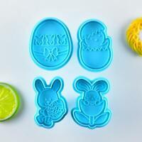 4pcs/set Easter Bunny Plastic Baking Mold Kitchen Biscuit Cookie Mould Decor Hot