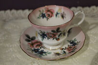 ROYAL ALBERT REFLECTIONS SERIES PINK AND FLORAL TEA CUP AND SAUCER
