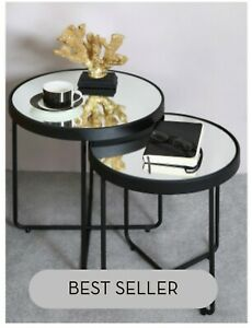 ALEESIO  BLACK SIDE END TABLES  SET OF 2  CONTEMPORARY DESIGN 50 X 45 X 45CM